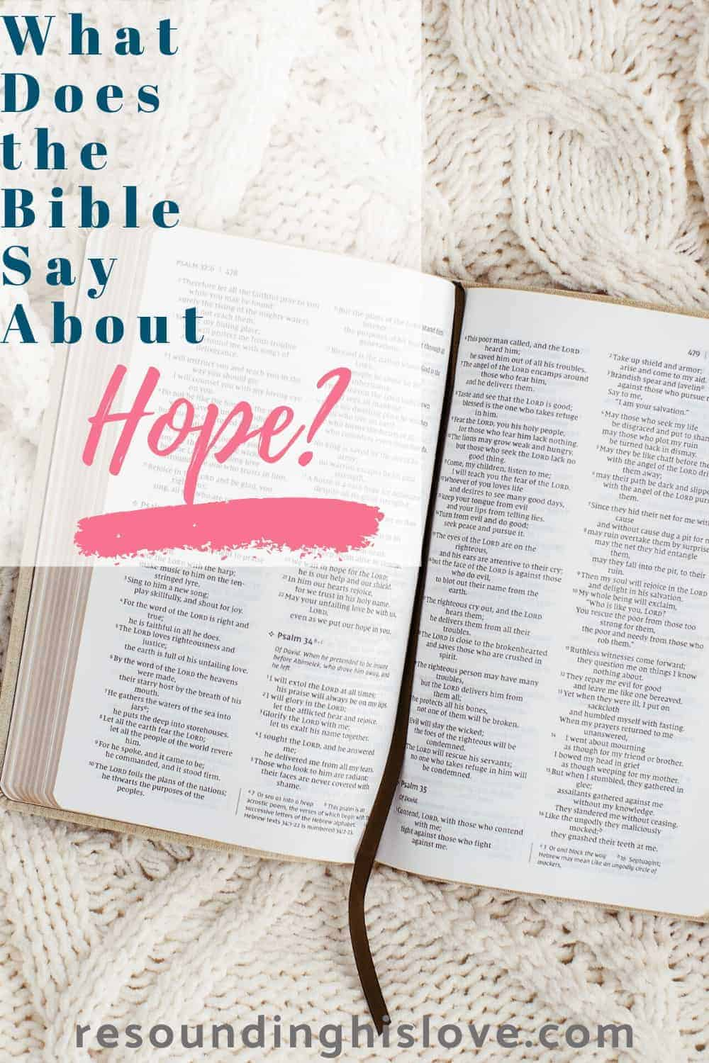 an image of an open bible with text reading What Does the Bible Say about Hope?