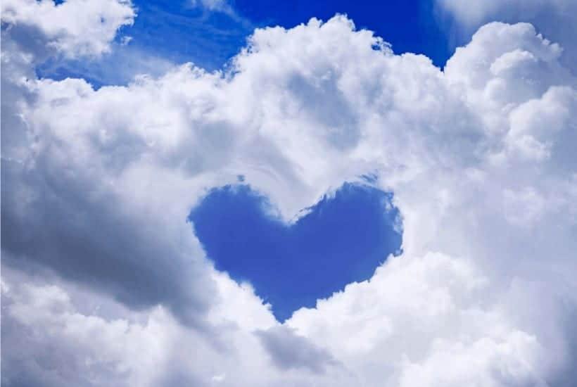 No Greater Love Than This - An image of the sky with a cloud formed in the shape of a heart
