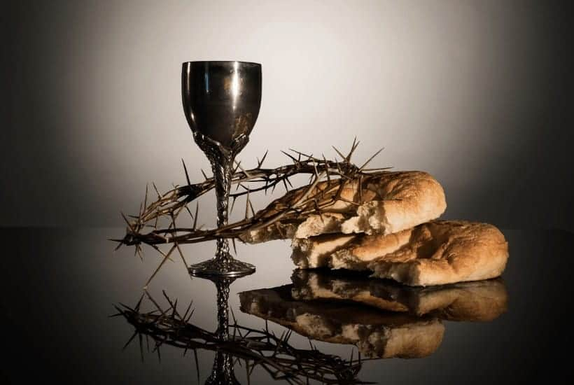 an image of crown of thorns, bread, and cup of wine