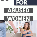an image of a young woman sitting on a couch scared with an angry man standing over her with a bottle with text 85+ Best Resources and Help for Abused Women legs bent towards her face with a bruise under her eye