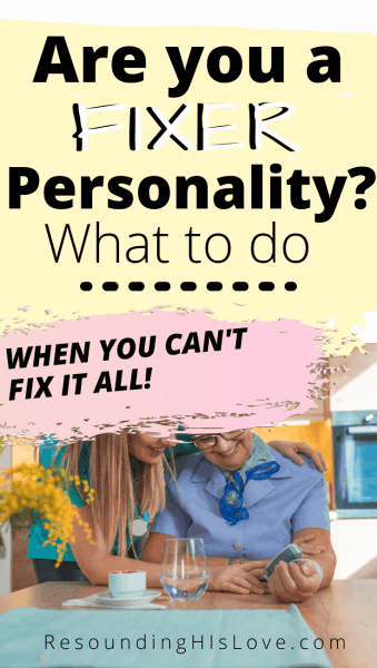 a couple sitting at a table trying to fix something broken with text Do YOU Have a Fixer Personality? Here's How to Tell