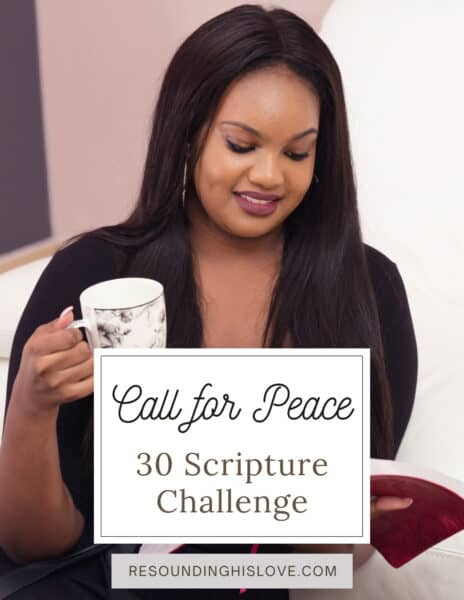 a woman wearing a brown sweater with a white teacup reading a opened red bible A Call for Peace Challenge